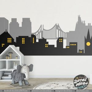 city skyline personalized decal